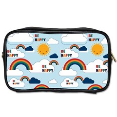 Be Happy Repeat Travel Toiletry Bag (two Sides) by Kathrinlegg