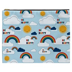 Be Happy Repeat Cosmetic Bag (xxxl) by Kathrinlegg