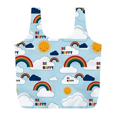 Be Happy Repeat Reusable Bag (l) by Kathrinlegg