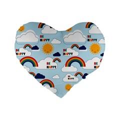 Be Happy Repeat Standard 16  Premium Flano Heart Shape Cushion  by Kathrinlegg