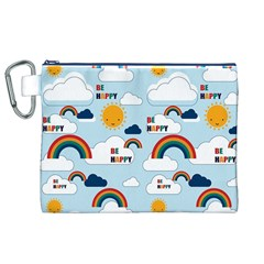 Be Happy Repeat Canvas Cosmetic Bag (xl) by Kathrinlegg