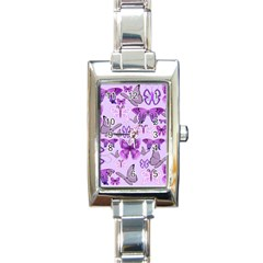 Purple Awareness Butterflies Rectangular Italian Charm Watch by FunWithFibro