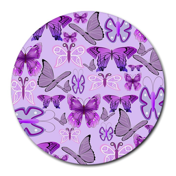 Purple Awareness Butterflies 8  Mouse Pad (Round)
