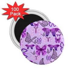 Purple Awareness Butterflies 2 25  Button Magnet (100 Pack) by FunWithFibro