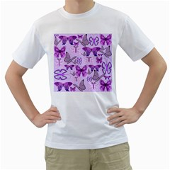 Purple Awareness Butterflies Men s Two Sided T Shirt (white) by FunWithFibro