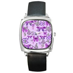 Purple Awareness Butterflies Square Leather Watch by FunWithFibro