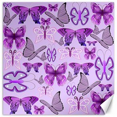 Purple Awareness Butterflies Canvas 16  X 16  (unframed) by FunWithFibro