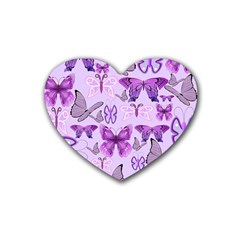 Purple Awareness Butterflies Drink Coasters (heart) by FunWithFibro