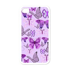 Purple Awareness Butterflies Apple Iphone 4 Case (white) by FunWithFibro