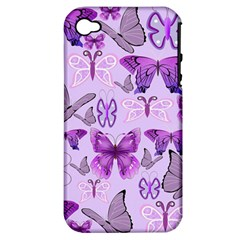 Purple Awareness Butterflies Apple Iphone 4/4s Hardshell Case (pc+silicone) by FunWithFibro
