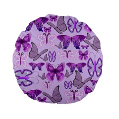 Purple Awareness Butterflies Standard 15  Premium Flano Round Cushion  by FunWithFibro