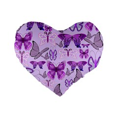 Purple Awareness Butterflies Standard 16  Premium Flano Heart Shape Cushion  by FunWithFibro