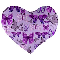 Purple Awareness Butterflies Large 19  Premium Flano Heart Shape Cushion by FunWithFibro