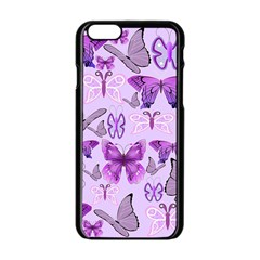 Purple Awareness Butterflies Apple Iphone 6 Black Enamel Case by FunWithFibro