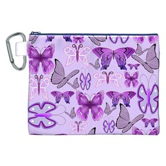 Purple Awareness Butterflies Canvas Cosmetic Bag (xxl) by FunWithFibro