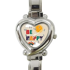 Be Happy Heart Italian Charm Watch  by Kathrinlegg