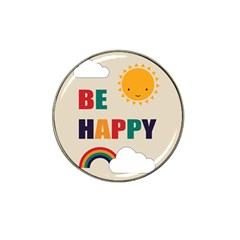 Be Happy Golf Ball Marker (for Hat Clip) by Kathrinlegg