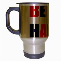 Be Happy Travel Mug (silver Gray) by Kathrinlegg