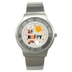 Be Happy Stainless Steel Watch (slim) by Kathrinlegg