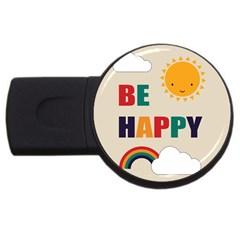 Be Happy 4gb Usb Flash Drive (round) by Kathrinlegg