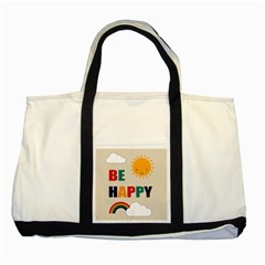Be Happy Two Toned Tote Bag by Kathrinlegg