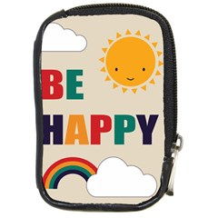 Be Happy Compact Camera Leather Case by Kathrinlegg
