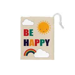 Be Happy Drawstring Pouch (small) by Kathrinlegg