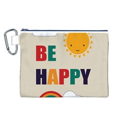Be Happy Canvas Cosmetic Bag (large) by Kathrinlegg