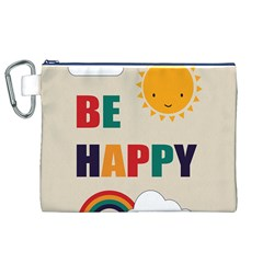 Be Happy Canvas Cosmetic Bag (xl) by Kathrinlegg