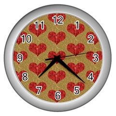 Sparkle Heart  Wall Clock (silver) by Kathrinlegg