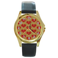 Sparkle Heart  Round Leather Watch (gold Rim)  by Kathrinlegg
