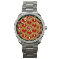 Sparkle Heart  Sport Metal Watch