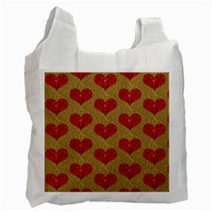 Sparkle Heart  White Reusable Bag (two Sides) by Kathrinlegg