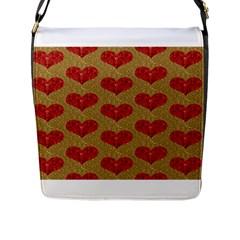 Sparkle Heart  Flap Closure Messenger Bag (large)