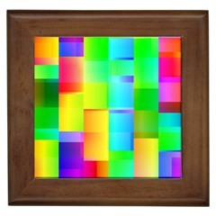Colorful Gradient Shapes Framed Tile by LalyLauraFLM
