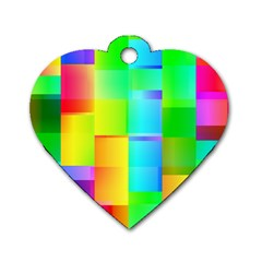 Colorful Gradient Shapes Dog Tag Heart (one Side)