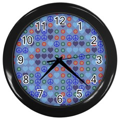 Peace And Love Wall Clock (black) by LalyLauraFLM