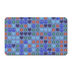 Peace And Love Magnet (rectangular) by LalyLauraFLM