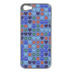 Peace And Love Apple Iphone 5 Case (silver) by LalyLauraFLM