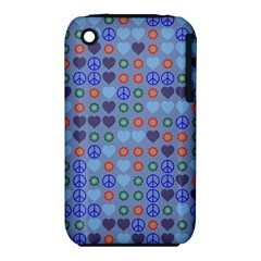 Peace And Love Apple Iphone 3g/3gs Hardshell Case (pc+silicone) by LalyLauraFLM