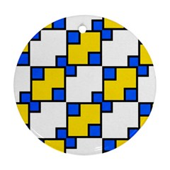 Yellow And Blue Squares Pattern Ornament (round) by LalyLauraFLM
