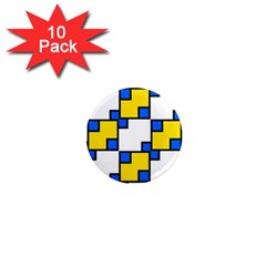Yellow And Blue Squares Pattern 1  Mini Magnet (10 Pack)  by LalyLauraFLM