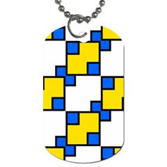 Yellow And Blue Squares Pattern Dog Tag (two Sides) by LalyLauraFLM