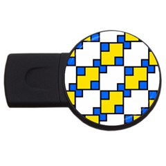 Yellow And Blue Squares Pattern Usb Flash Drive Round (2 Gb) by LalyLauraFLM