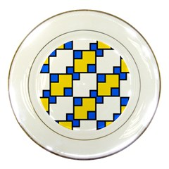 Yellow And Blue Squares Pattern Porcelain Plate by LalyLauraFLM