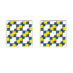 Yellow And Blue Squares Pattern Cufflinks (square) by LalyLauraFLM