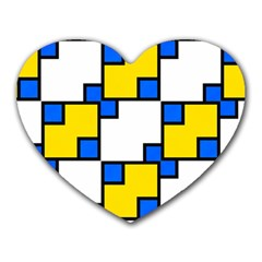 Yellow And Blue Squares Pattern Heart Mousepad by LalyLauraFLM