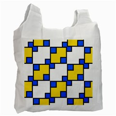 Yellow And Blue Squares Pattern Recycle Bag (two Side) by LalyLauraFLM