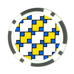 Yellow And Blue Squares Pattern Poker Chip Card Guard (10 Pack) by LalyLauraFLM