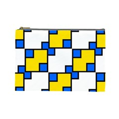 Yellow And Blue Squares Pattern Cosmetic Bag (large) by LalyLauraFLM